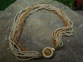 Vintage Gold Tone Faux Pearl Multi Strand Torsade Necklace - $44.55