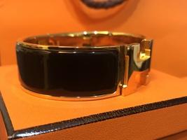 Authentic HERMES Clic Clac Wide Bracelet H BLACK GOLD HW SZ M Bangle  image 2