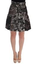 Dolce & Gabbana Black Silver Brocade Floral Skirt - $683.43+