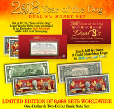 USA $1 $2 Doller Bill Set 2018 Chinese New YEAR OF DOG Gold Hologram Cer... - $26.08