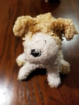Brown White Curly Hair Dog Stuffed Animal Plush Ty Beanie Babies Scrappy... - $0.73
