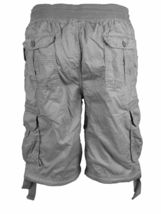 LR Scoop Men's Elastic Waist Drawstring Multi Pocket Cotton Cargo Shorts CJS-80 image 11