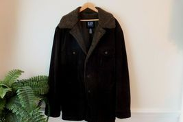 GAP Mens Suede Leather Coat Jacket Thick & Heavy Sherpa Lined Size XXL Dk Brown image 7