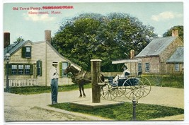 Old Town Pump Horse Buggy Slasconset Massachusetts 1910c postcard - $6.88