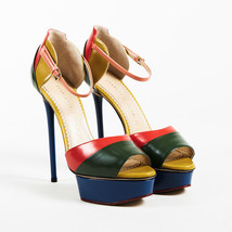 "Charlotte Olympia NWT Multicolor Leather ""Modern"" Platform Sandals SZ 38.5 - $276.00"