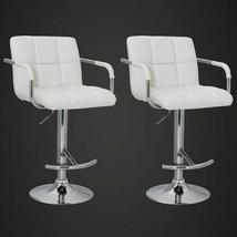 Set of 2 Adjustable Swivel Bar Stool PU Leather Hydraulic w/Armrest White/Black image 2