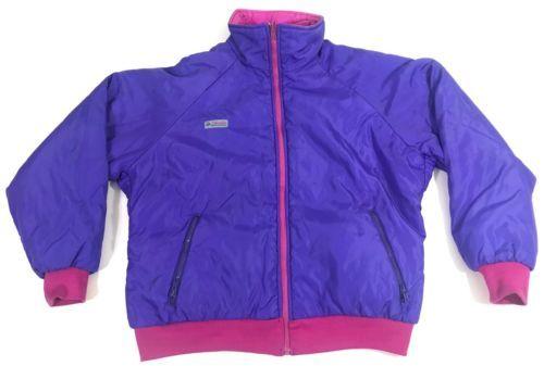 48ac9e3bb13358 12. 12. Previous. Vintage Columbia Radial Sleeve Reversible Women Jacket  Ski Coat Purple ...