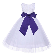 White Satin 3D Floral Design Flower Girl Dress Bridesmaid Pageant 152s - $38.99