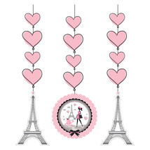 Party in Paris Birthday 3 Hanging Cut Outs Swirls Eiffel Tower - $6.88 CAD