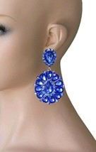 """3.25"""" Long Cluster Clip On Earrings, Royal Blue Rhinestones, Drag Queen, Pageant - $17.05"""