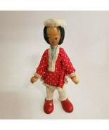 """Vintage Handmade Wood Winter Girl Type Doll Painted Face Poland 7 1/4"""" O... - $9.74"""