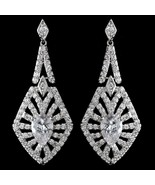 Vintage Inspired Rhodium Silver CZ Crystal Dangle Prom Bridal Earrings - €81,01 EUR