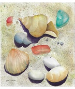 """Original Watercolor by Ana Sharma, """"At The Beach"""",  10.5 x 10.75 inches - $180.00"""