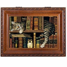 Cat Sleeping in library Wooden Music Box That's What Friends are For (Br... - $75.21