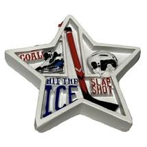 Hockey Sports Christmas Tree Ornament Star Shape Shadow Box Helmet Stick... - $11.88