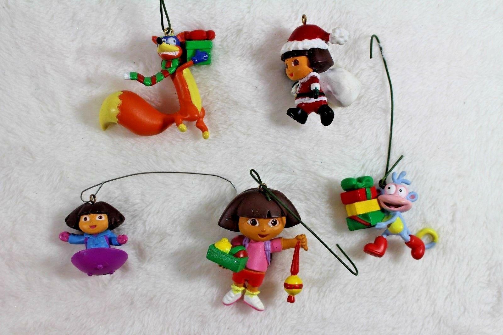 Dora the Explorer Christmas Tree Decorations 5 Mini Ornaments Boots Swiper Dora