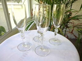 Set of 4 Cris D'Arques Cortina Pattern Clear Crystal Champagne Flutes - $23.76