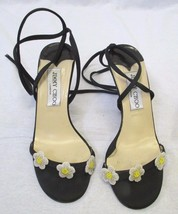 JIMMY CHOO Black Satin Ankle Tie Sandals with Beaded Flowers at Front - Size 35 - $79.99