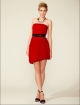 New Vera Wang Lavender Label Red Silk Chiffon Belted Strapless Dress Sz ... - $29.09