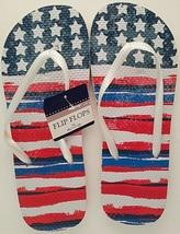 USA American Flag Flip Flops Star and Stripes Red White Blue Unisex Men Women... - $2.99