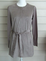 H by Halston Gray Faux Suede Jacket with Sweater Knit Sleeves Size 2 Ext... - $24.74