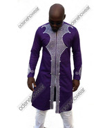 Odeneho Wear Men's Purple Polished Cotton/Embroidery. African Clothing. - $148.50+