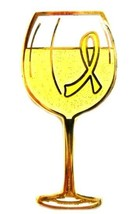 Yellow Ribbon Pin White Wine Glass Cancer Cause Awareness Tasting Fund R... - $13.97