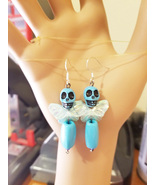 blue sugar skull fairy bead earrings dangles goth day of the dead handma... - $6.99