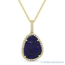 3.59 ct Blue Lapis Lazuli & Diamond 14k Yellow Gold Halo Pendant Chain Necklace - $421.73