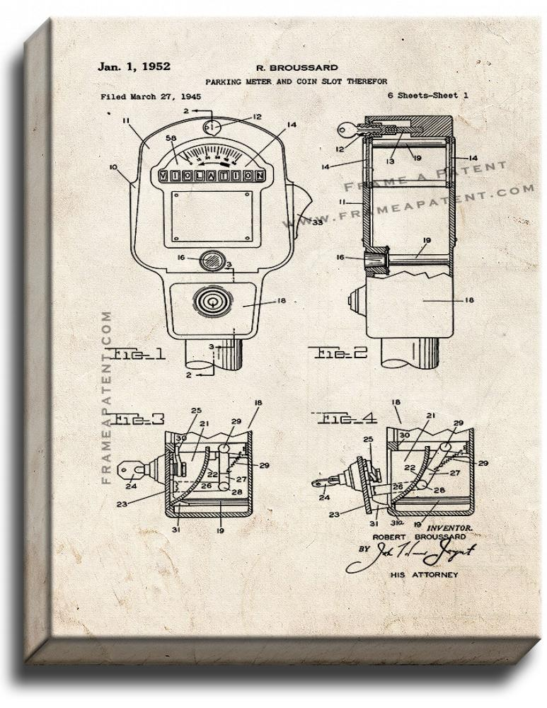 Primary image for Parking Meter Patent Print Old Look on Canvas