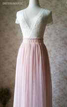 BLUSH PINK Maxi Tulle Skirt Elastic High Waist Blush Full Maxi Long Tulle Skirt  image 7