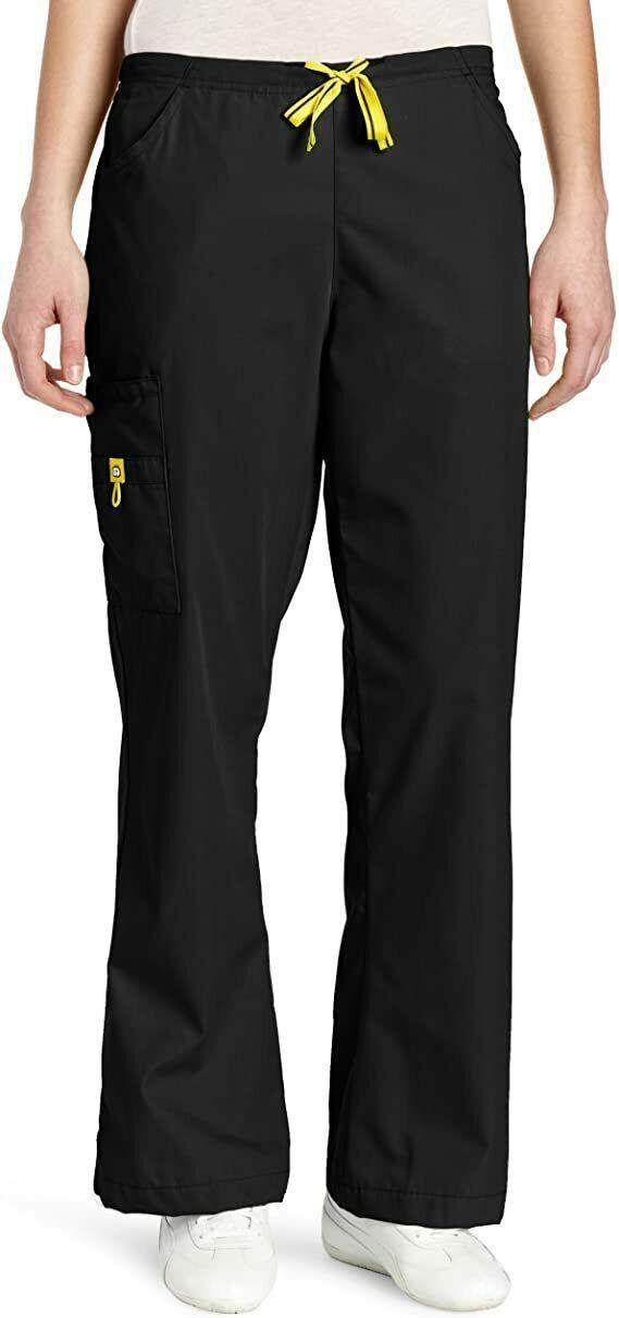 WonderWink Women's Scrubs Romeo Six-Pocket Flare Leg Pant, Medium, Black - $16.82