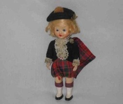 "Beautiful Vintage 6 1/2"" Hard Plastic Scottish Doll High Color - $66.61"