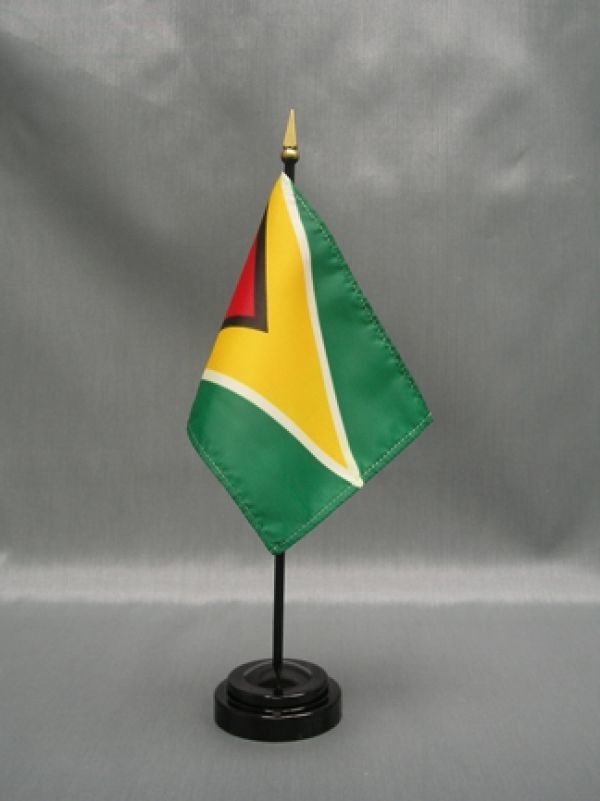 "GUYANA 4X6"" TABLE TOP FLAG W/ BASE NEW DESK TOP HANDHELD STICK FLAG"