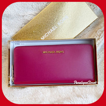 MICHAEL KORS GIFTABLES IN BOX LG ZIP AROUND CONTINENTAL WALLET MAGENTA - £37.20 GBP
