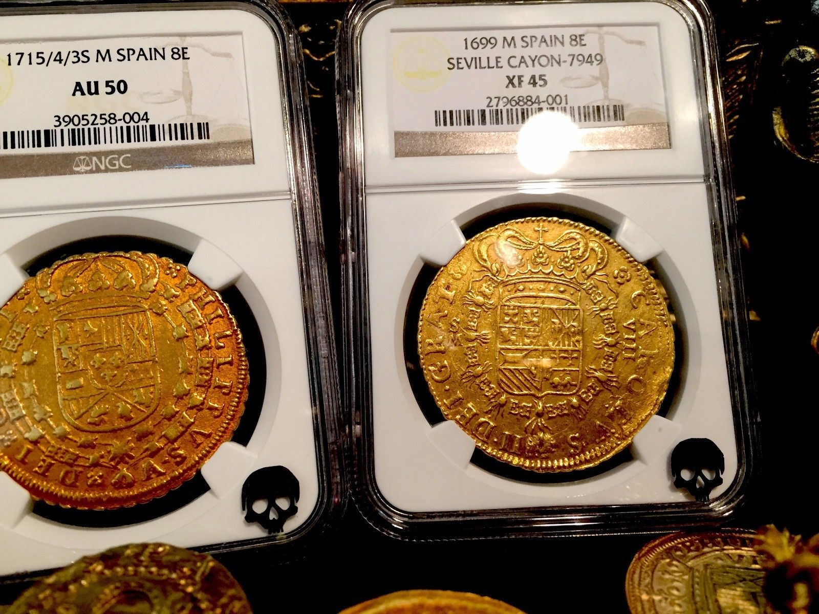 Set of 4 Mixed Spanish Armada Gold//Silver Doubloons Coins//Pirates//Treasure//Gift