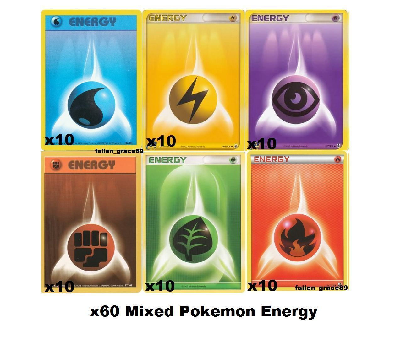 (60) Mix Pokemon Energy Cards Bundle Set! Fire, Water, Electric, Psychic Grass