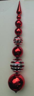 "Primary image for Very Large Christmas Finial Decoration Glass 26"" Red and Clear"