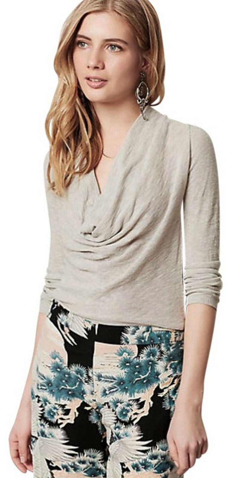 Anthropologie Fleetham Pullover Small 2 4 Gray Drapey Cowl Neck Yoke Back NWT - $39.20