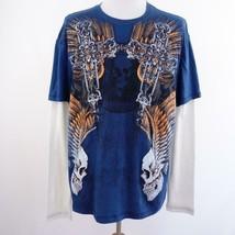 MMA Elite Blue White Thermal Long Sleeve Graphic T Shirt Mens Sz 2XL - $17.34