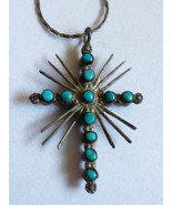 VTG hand crafted Sterling Silver Double Sided Turquoise & Coral Cross Pe... - $67.32