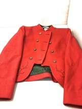 Embroidered Wiener Werkstatte Red Children's Coat Jacket Textile OOAK An... - $150.00