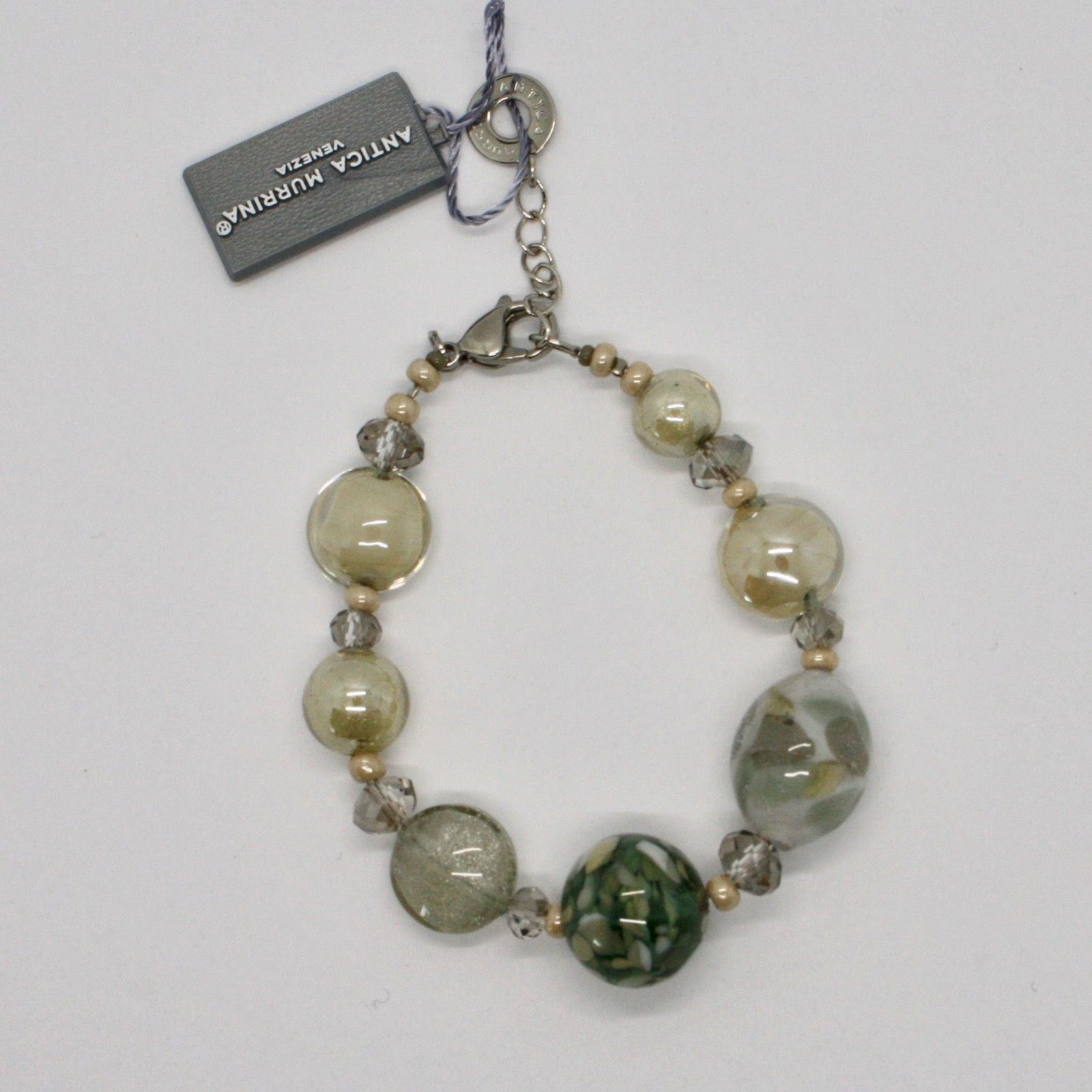 BRACELET ANTICA MURRINA VENEZIA WITH MURANO GLASS BEIGE GREY GREEN BR796A34