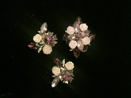 Vintage Hope Chest purple cluster gems brooch and clip on earrings set