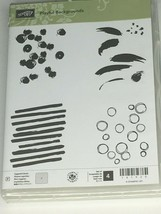 Stampin Up Playful Backgrounds Cling Stamp Set 4 Bubbles Lines Card Maki... - $11.99