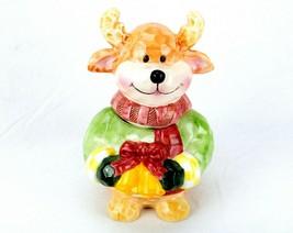 Vintage Porcelain Cookie Jar, Cute Whimsical Reindeer Shape, w/Original Box - $34.25