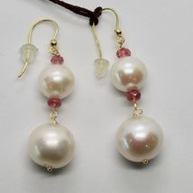 Yellow Gold Earrings 18K 750 Pearls Water Dolce Tourmaline Pink Made in Italy image 4
