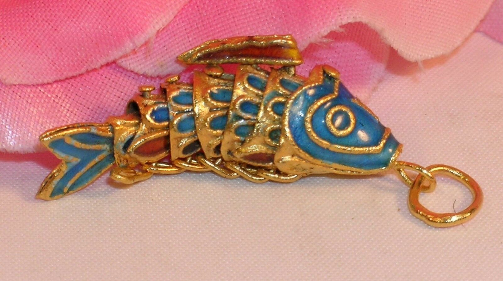 Primary image for Vintage Cloisonne Enamel Articulated Fish Pendant Blue and Gold Tone Koi lot #6