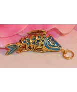 Vintage Cloisonne Enamel Articulated Fish Pendant Blue and Gold Tone Koi... - $23.99