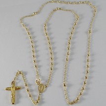 18K YELLOW GOLD ROSARY NECKLACE MIRACULOUS MARY MEDAL & JESUS CROSS ITALY MADE